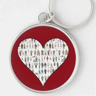 NYC New York City Red Heart People Keychain