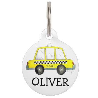 NYC New York City Yellow Checker Taxi Cab Dog Tag Pet Name Tags