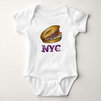 NYC New York Jewish Deli Bagel Lox Capers Onions Baby Bodysuit