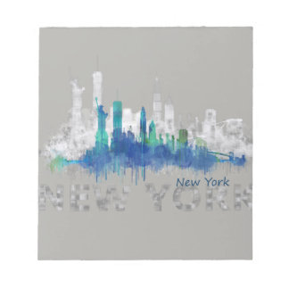 NYC New York Skyline. B/W-Colorful. Double shadow Notepad