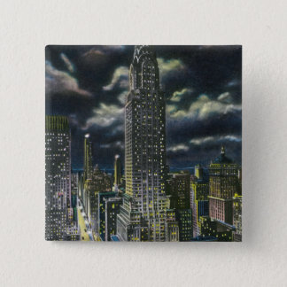 NYC, New YorkChrysler Building at Night # 1 15 Cm Square Badge