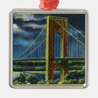 NYC, New YorkGeorge Washington Bridge at Night Christmas Ornament
