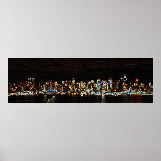 NYC Night Neon Skyline Poster