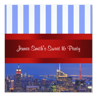 NYC Night Skyline Blue White Stripe Sweet 16 Party 13 Cm X 13 Cm Square Invitation Card