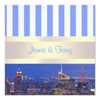 NYC Night Skyline Blue White Stripe Wedding Personalized Invites