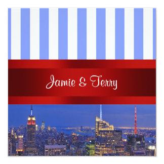 NYC Night Skyline Blue White Stripe Wedding 5.25x5.25 Square Paper Invitation Card