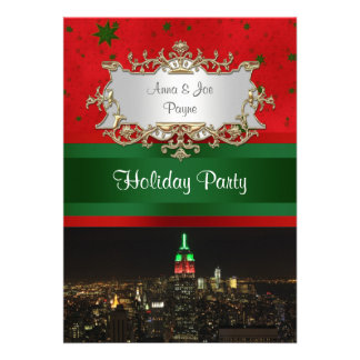 NYC Night Skyline Red Green Empire State Bldg Xmas Personalized Announcement