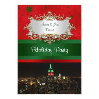 NYC Night Skyline Red Green Empire State Bldg Xmas 13 Cm X 18 Cm Invitation Card