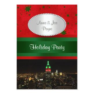 NYC Night Skyline Red Grn Empire State Bldg Xmas P Custom Invite