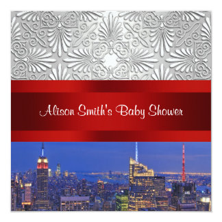 NYC Night Skyline Silver Damask Baby Shower 13 Cm X 13 Cm Square Invitation Card
