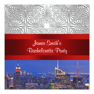 NYC Night Skyline Silver Damask Bachelorette 13 Cm X 13 Cm Square Invitation Card