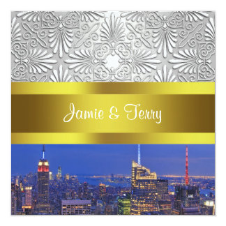 NYC Night Skyline Silver Damask Red White Wedding 13 Cm X 13 Cm Square Invitation Card