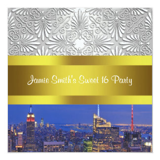 NYC Night Skyline Silver Damask Sweet 16 Party 13 Cm X 13 Cm Square Invitation Card