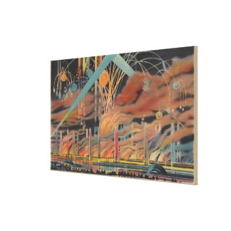 NYC, NY - Fireworks at Lagoon of Nations Worlds Canvas Print