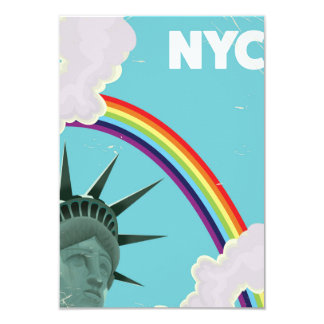 NYC Rainbow vintage style travel poster Card