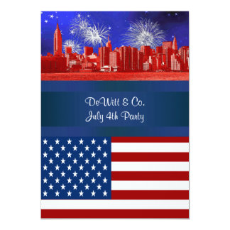 NYC Red Etched Skyline ESB USA Flag Red W Blue #2 5x7 Paper Invitation Card