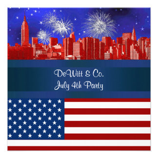 NYC Red Etched Skyline ESB USA Flag Red W Blue 2 Custom Announcements