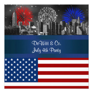 NYC Red Etched Skyline ESB USA Flag Red W Blue 4 Personalized Announcements