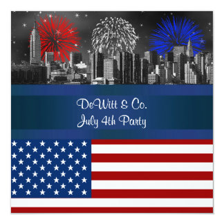 NYC Red Etched Skyline ESB USA Flag Red W Blue #4 5.25x5.25 Square Paper Invitation Card