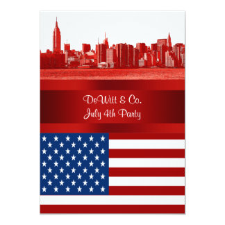 NYC Red Etched Skyline ESB USA Flag Red W Blue Invitation