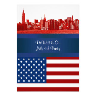 NYC Red Etched Skyline ESB USA Flag Red W Blue Card
