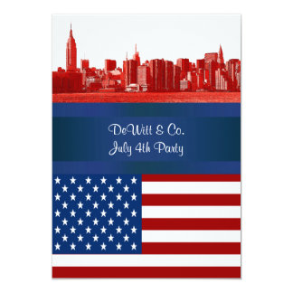NYC Red Etched Skyline ESB USA Flag Red W Blue 5x7 Paper Invitation Card
