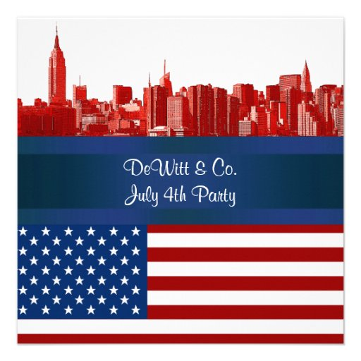 NYC Red Etched Skyline ESB USA Flag Red W Blue Personalized Invitations
