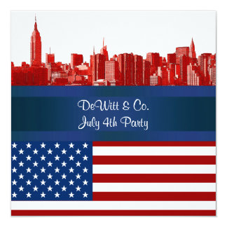 NYC Red Etched Skyline ESB USA Flag Red W Blue 5.25x5.25 Square Paper Invitation Card