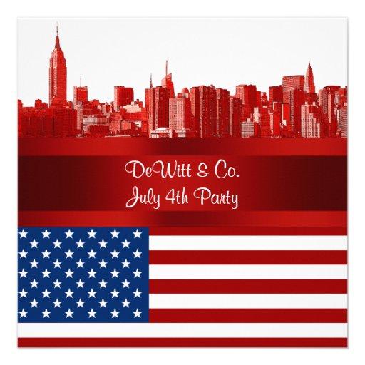NYC Red Etched Skyline ESB USA Flag Red W Blue Custom Invitations