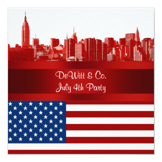 NYC Red Etched Skyline ESB USA Flag Red W Blue Custom Invitations