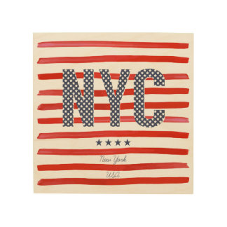 NYC   Red, White & Blue Design Wood Print