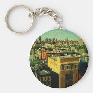 NYC retro style skyline altered photo keychain