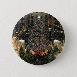 NYC Rockefeller Center Xmas Tree Falling Snow 6 Cm Round Badge