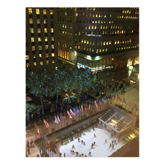 NYC Rockefeller Centre Christmas Ice Skating Rink Postcard