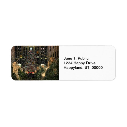 NYC Rockefeller Centre Xmas Tree Falling Snow Return Address Label