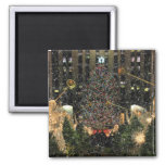 NYC Rockefeller Centre Xmas Tree Falling Snow Square Magnet