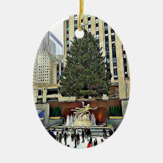 NYC Rockefeller Tree Skating Rink Christmas Christmas Ornament