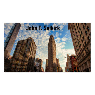 NYC s Flatiron Building Wide View Puffy Clouds Business Card