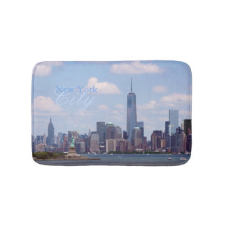 NYC Scape with Freedom Tower and Statue of Liberty Bath Mats