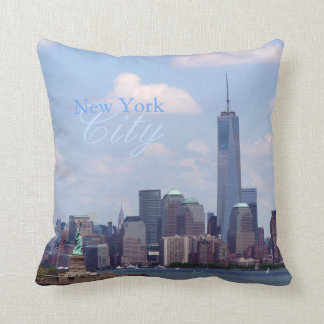 NYC Scape with Freedom Tower and Statue of Liberty Throw Pillow