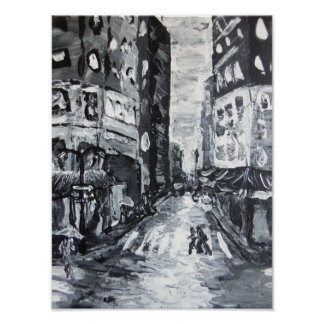 nyc scenes     'fifth ave drizzle' poster