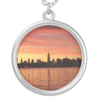 NYC Skylin Sunset Round Pendant Necklace