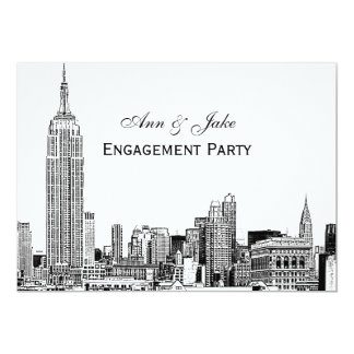 NYC Skyline 01 Etchd DIY BG Color Engagement Party Card