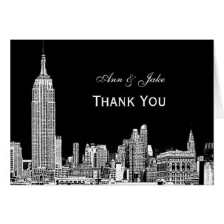 NYC Skyline 01 Etchd DIY BG Color Thank You Greeting Cards