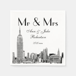 NYC Skyline 01 Etchd DIY BG Color Wedding Mr Mrs Disposable Napkins