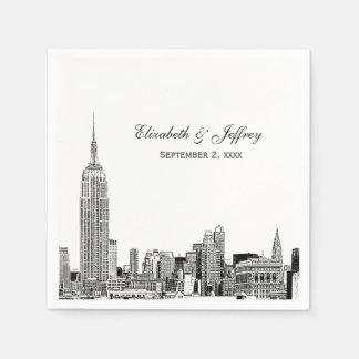 NYC Skyline 01 Etchd DIY BG Color Wedding Paper Serviettes