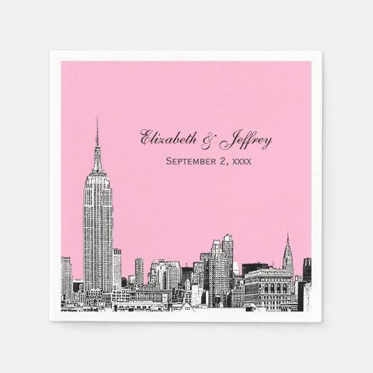 NYC Skyline 01 Etchd DIY BG Colour Wedding Disposable Napkin