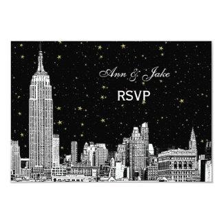 NYC Skyline 01 Etchd Starry DIY BG Color RSVP #2 9 Cm X 13 Cm Invitation Card