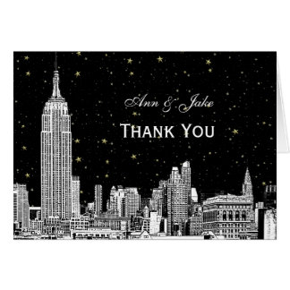 NYC Skyline 01 Etchd Starry DIY BG Color Thank You Note Card