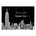 NYC Skyline 01 Etchd Starry DIY BG Colour Thank Note Card